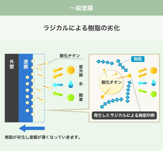 一般塗装 ラジカルによる樹脂の劣化の説明図